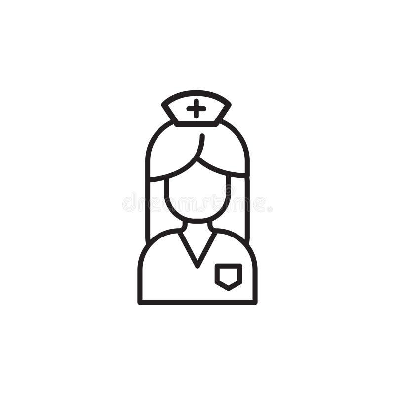 Ligne médicale moderne icône d'infirmière Symbole linéaire de gynécologie illustration de vecteur