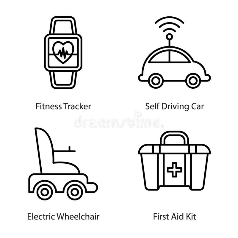 Ligne médicale vecteurs de technologie illustration stock