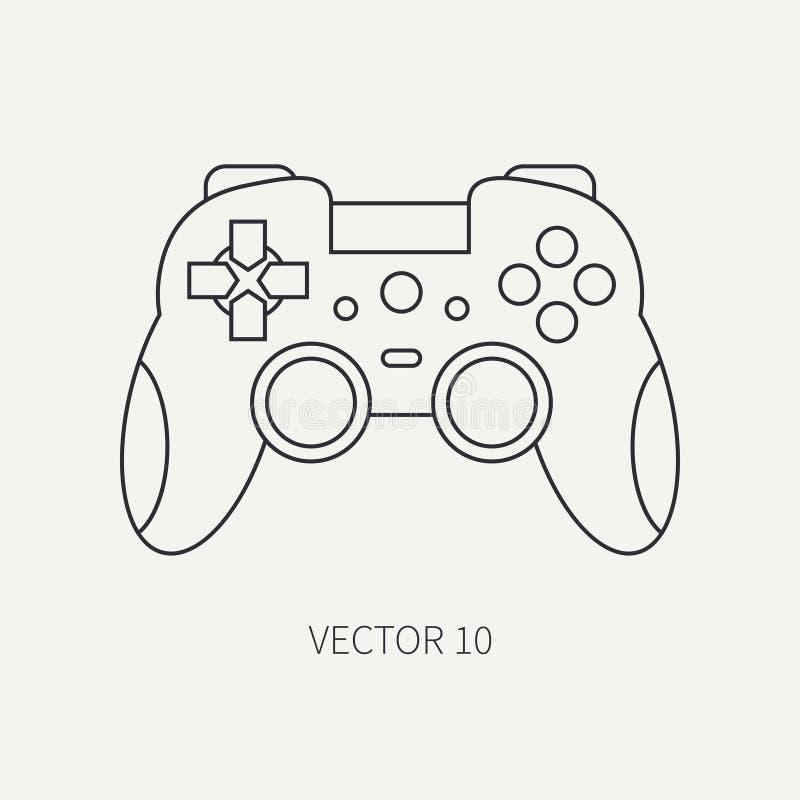 Ligne manette plate d'icône de pièce d'ordinateur de vecteur Type de dessin animé Dispositif de bureau de jeu de Digital et de PC illustration libre de droits