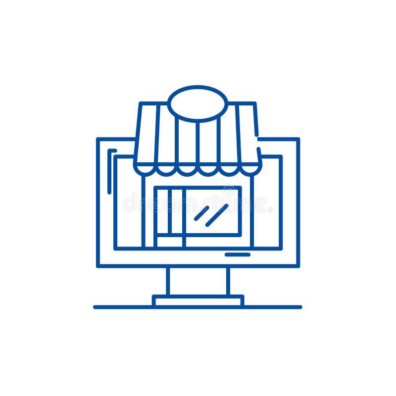 Ligne marchande à distance concept d'icône Symbole plat marchand à distance de vecteur, signe, illustration d'ensemble illustration stock