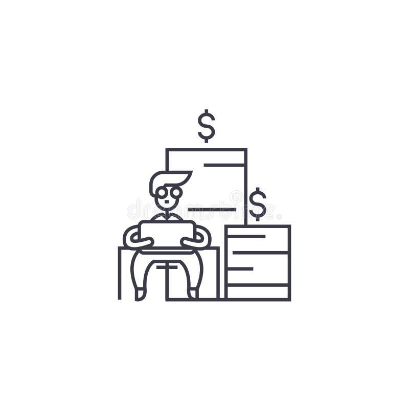 Ligne marchande financière icône, signe, illustration de vecteur sur le fond, courses editable illustration libre de droits