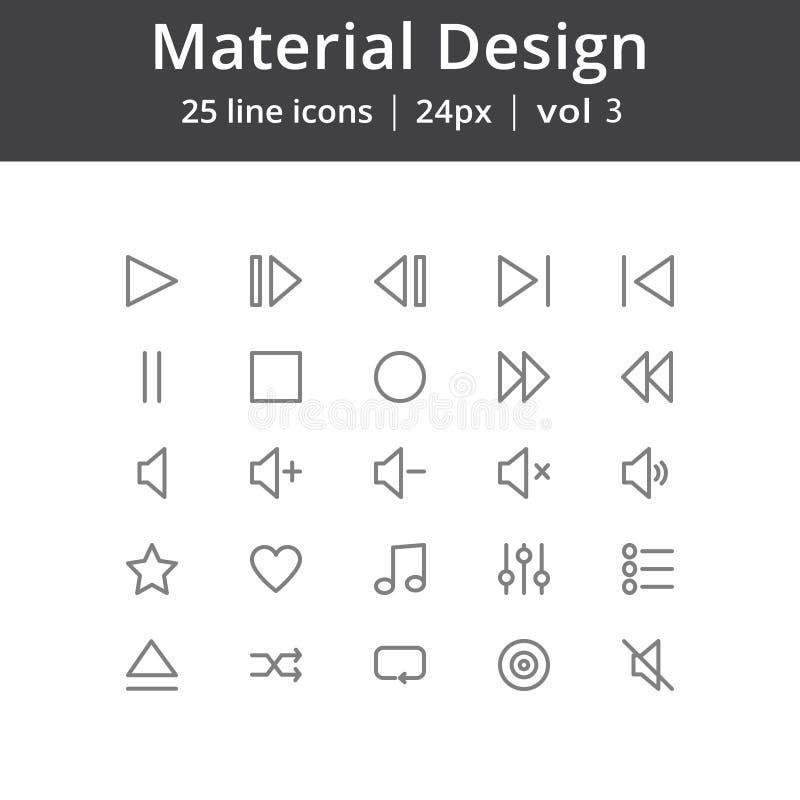 Ligne matérielle icônes de jeu de conception illustration libre de droits
