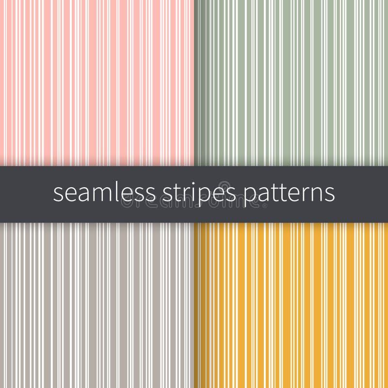 Ligne milieux réglés Vecteur jaune et blanc gris vert rose de rayures Illustration abstraite sans couture de modèle illustration libre de droits