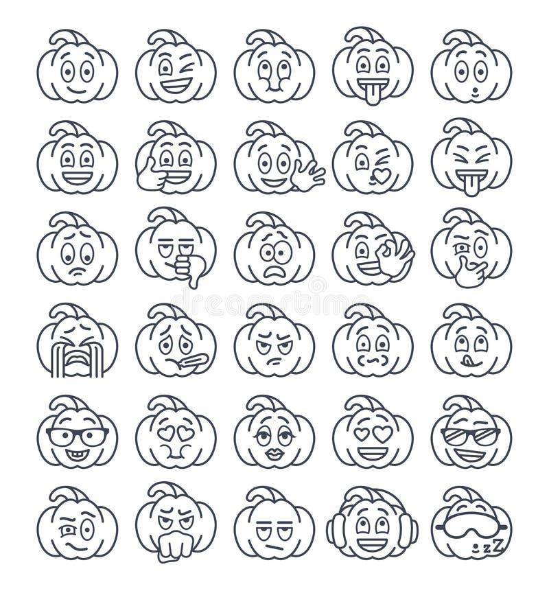 Ligne mince émoticônes de potiron de Halloween d'emoji illustration stock