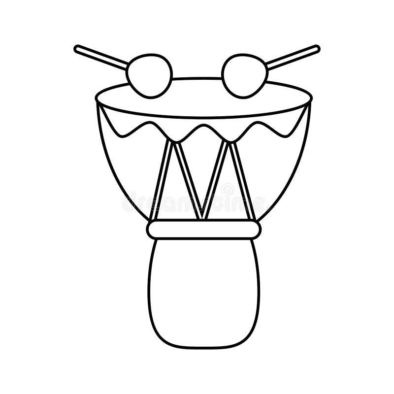 Ligne mince africaine de percussion de djembe de tambour illustration libre de droits