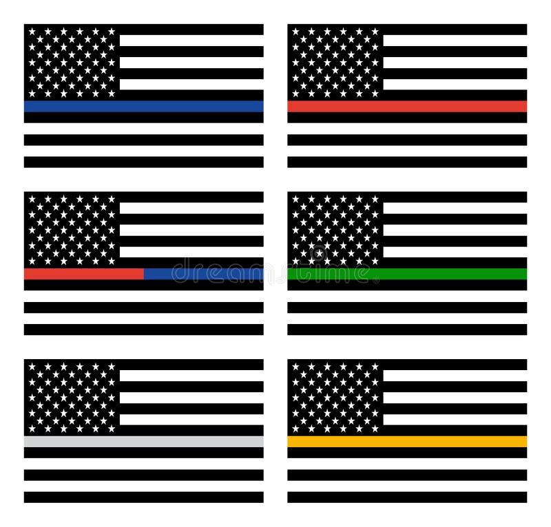 Ligne mince américaine drapeaux illustration libre de droits