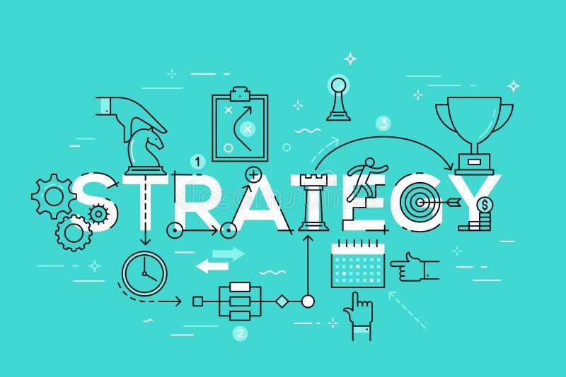 Ligne mince bannière plate de conception des affaires et de la stratégie marketing illustration de vecteur