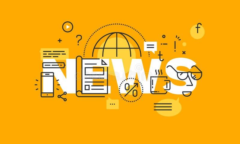 Ligne mince bannière plate de conception pour la page Web d'actualités illustration libre de droits