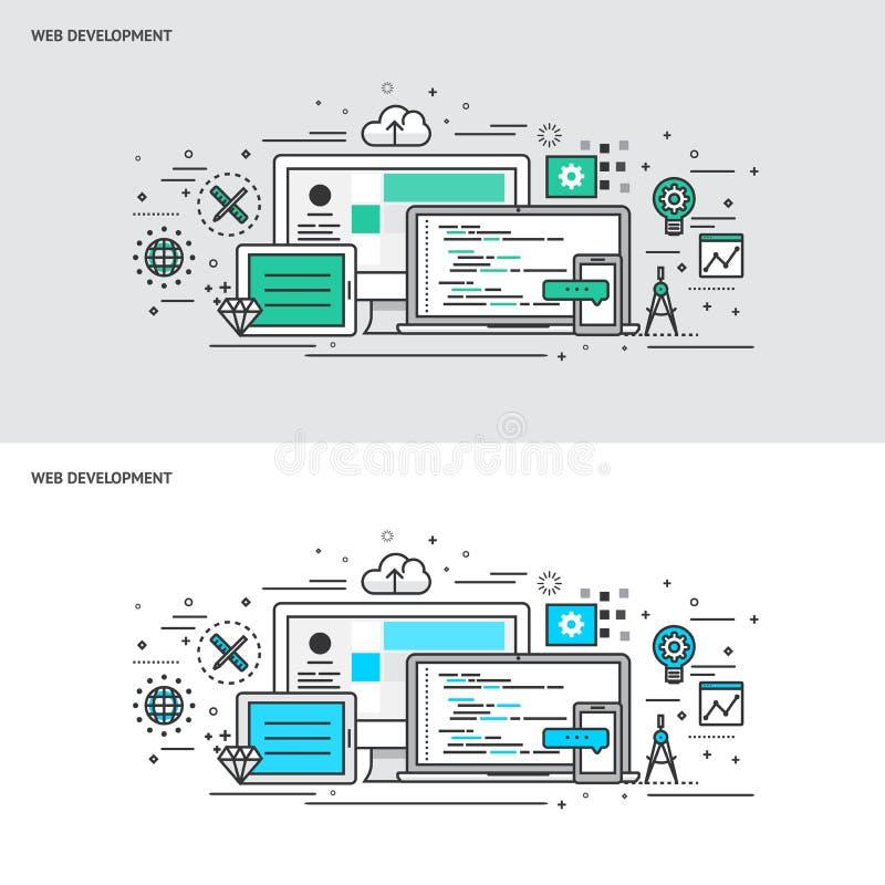 Ligne mince bannières plates de concept de construction pour le développement de Web illustration stock
