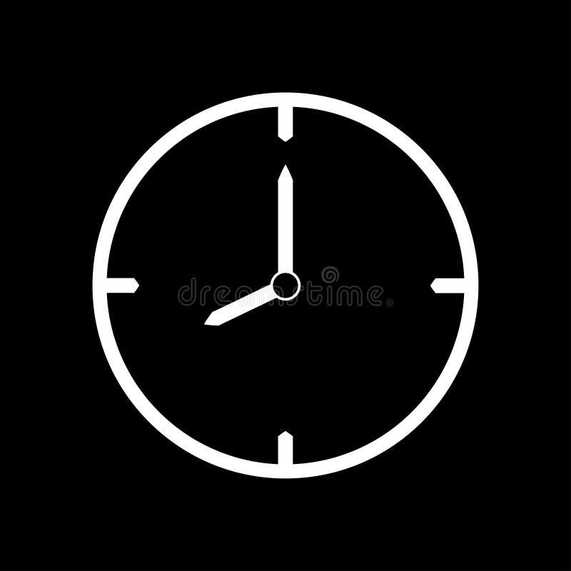 Ligne mince blanche icône d'horloge 8 heures - illustration de vecteur illustration libre de droits