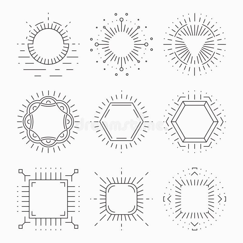 Ligne mince cadres de hippie pour des emblèmes et des insignes illustration de vecteur