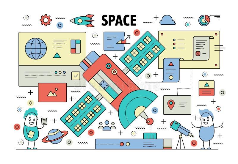 Ligne mince calibre de vecteur de bannière d'affiche de l'espace illustration de vecteur