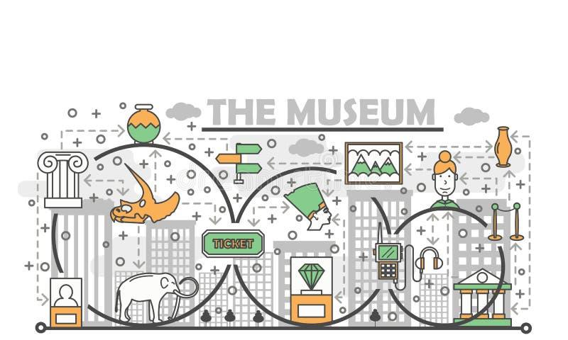 Ligne mince calibre de vecteur de bannière d'affiche de Musée d'Art illustration libre de droits