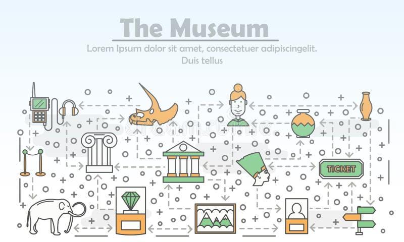 Ligne mince calibre de vecteur de bannière d'affiche de Musée d'Art illustration de vecteur
