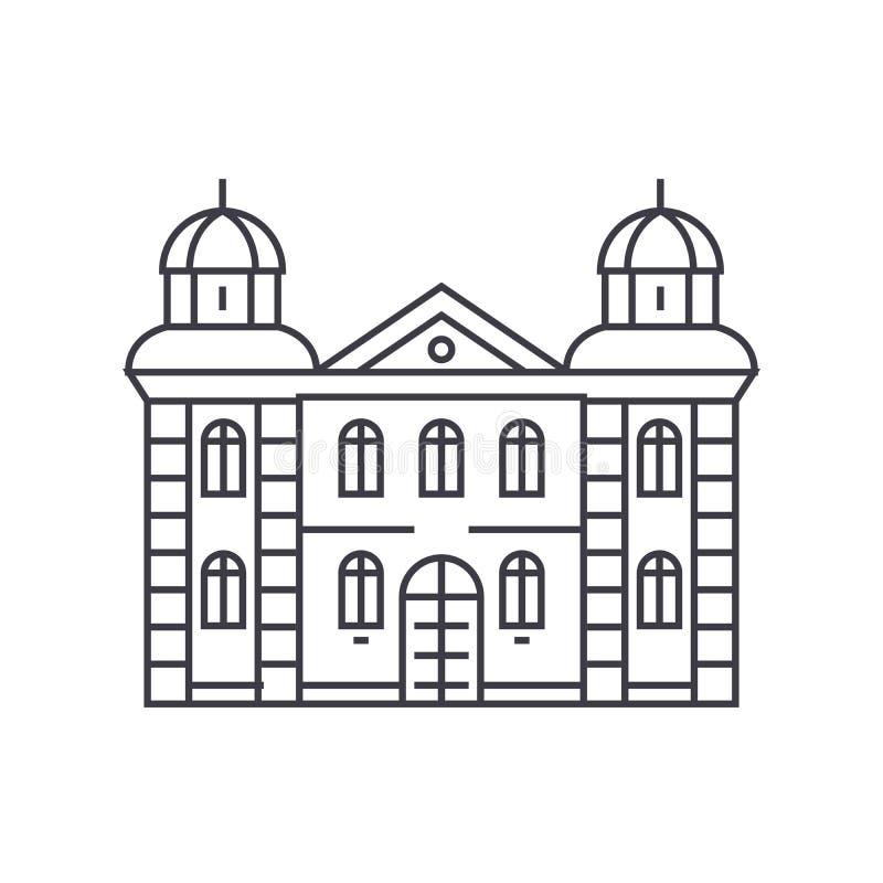 Ligne mince concept d'hôtel d'icône Signe linéaire de vecteur d'hôtel, symbole, illustration illustration libre de droits