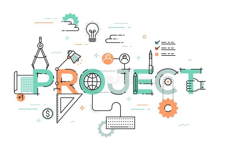 Ligne mince concept de construction pour la bannière de site Web de projet illustration libre de droits