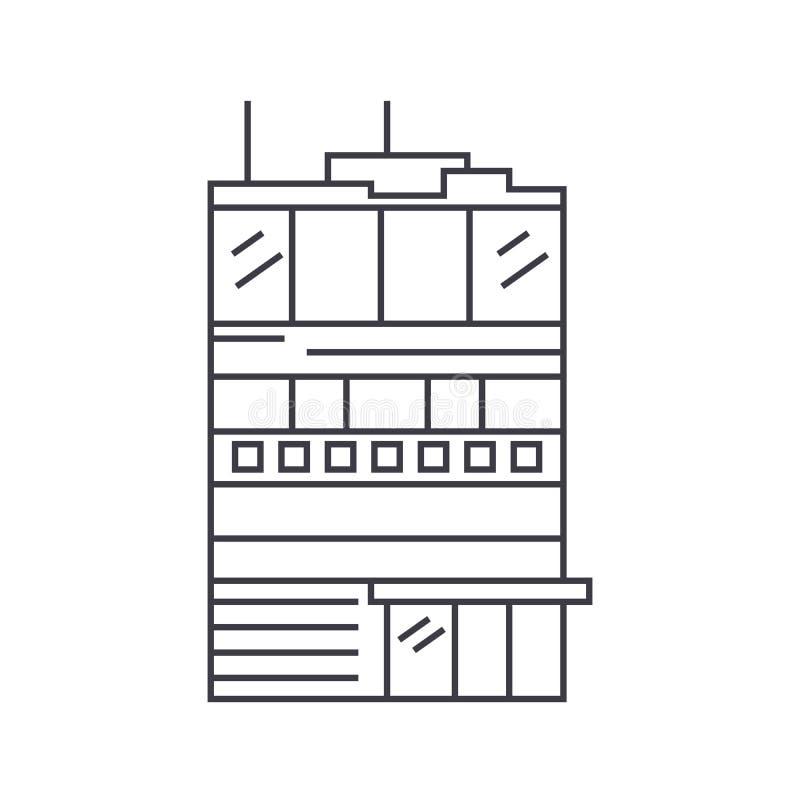 Ligne mince concept de logement de fonction d'affaires d'icône Signe linéaire de vecteur de logement de fonction d'affaires, symb illustration stock