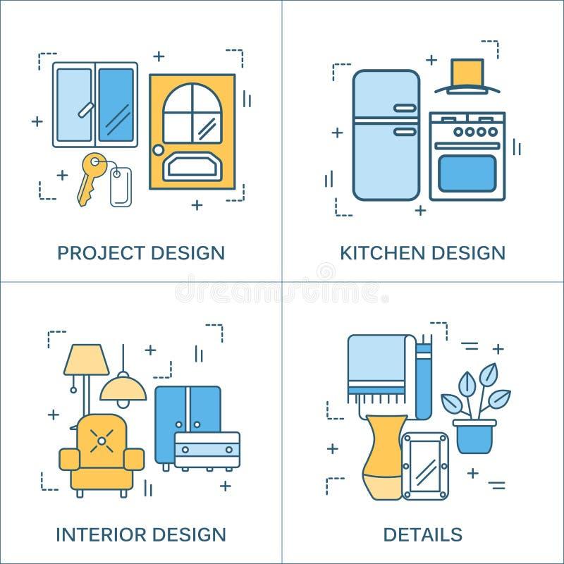 Ligne mince conception plate des outils de construction illustration stock