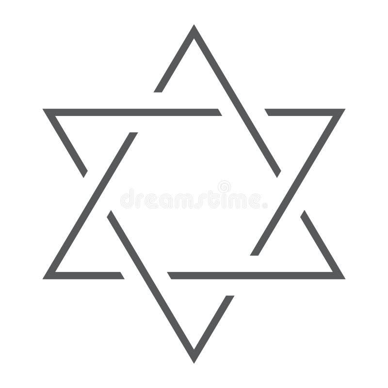 Ligne mince d'étoile de David icône, Israël et juif, signe de hexagram, graphiques de vecteur, un modèle linéaire sur un fond bla illustration de vecteur