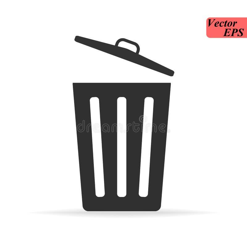 Ligne mince d'icône de poubelle pour le Web et le mobile, conception plate minimalistic moderne Icône gris-foncé de vecteur sur g illustration stock