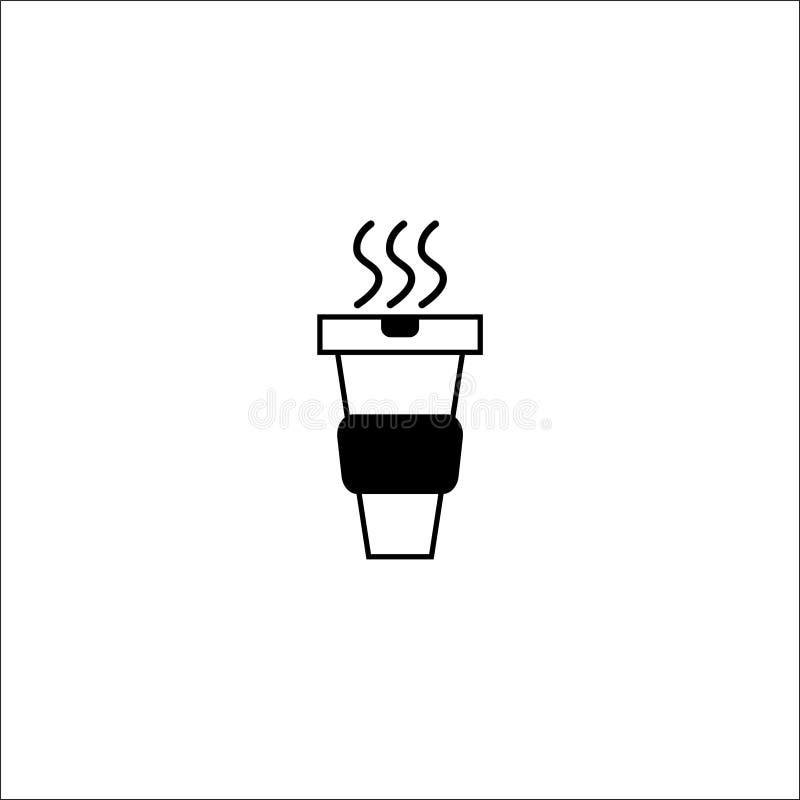 Ligne mince de café de papier de tasse de noir chaud d'icône - illustration de vecteur illustration libre de droits