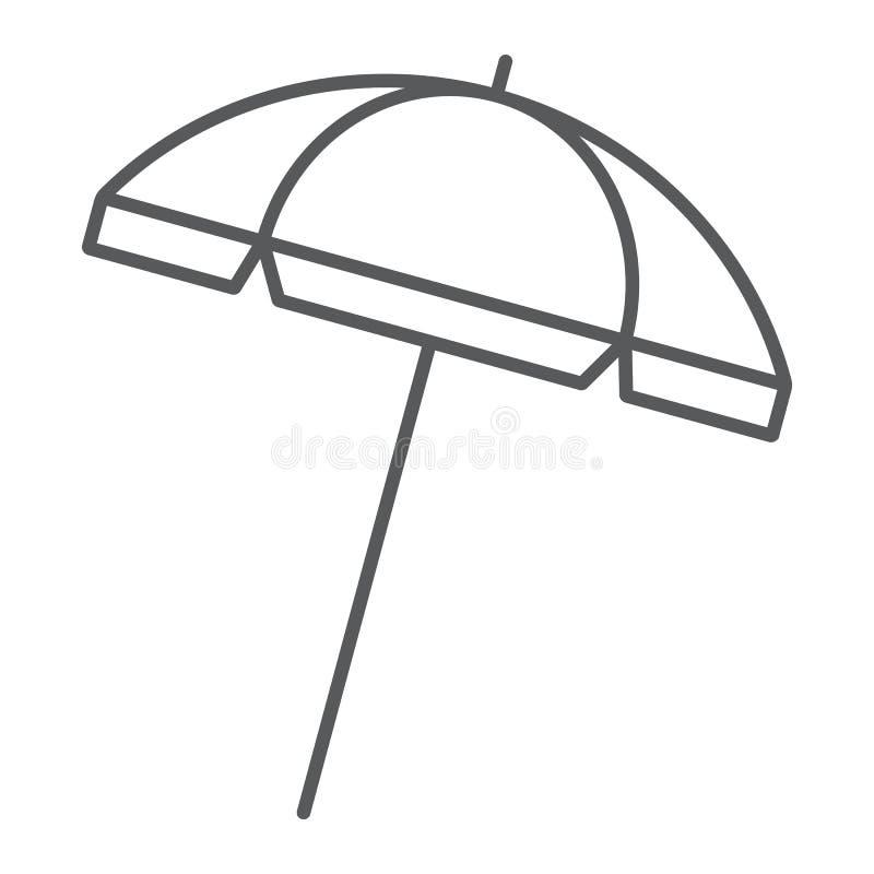 Ligne mince de parapluie de plage icône, voyage et parasol illustration stock