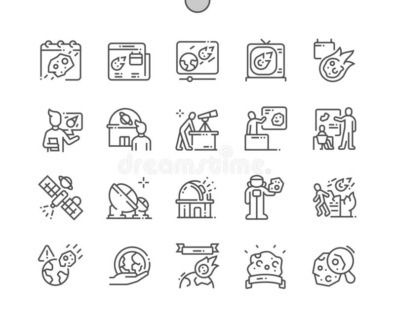 Ligne mince de vecteur parfait de pixel Bien-ouvrée par jour en forme d'étoile grille 2x des icônes 30 pour des graphiques et des illustration stock