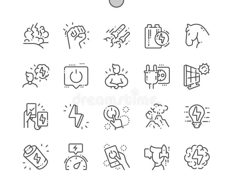 Ligne mince de vecteur parfait de pixel Bien-ouvrée par puissance grille 2x des icônes 30 pour des graphiques et des applis de We illustration de vecteur