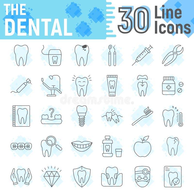 Ligne mince dentaire ensemble d'icône, symboles de stomatologie illustration libre de droits