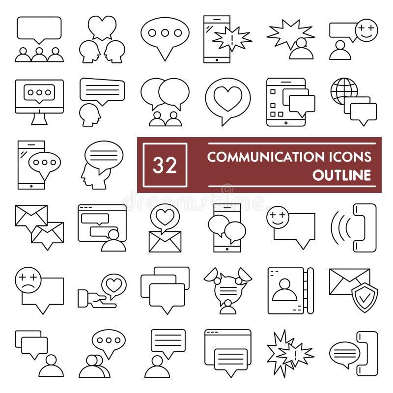 Ligne mince ensemble d'icône, symboles collection, croquis de vecteur, illustrations de logo, signes de communication de conversa illustration stock
