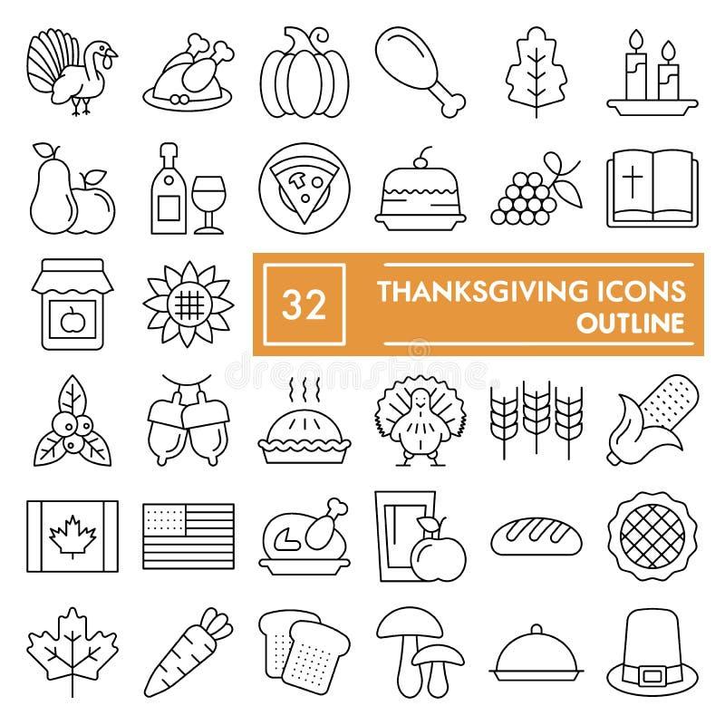 Ligne mince ensemble d'icône, symboles collection, croquis de vecteur, illustrations de logo, signes de thanksgiving de célébrati illustration stock
