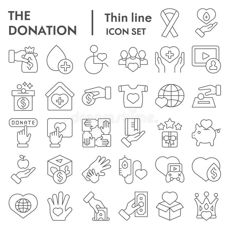 Ligne mince ensemble d'icône, symboles collection, croquis de vecteur, illustrations de logo, signes volontaires de donation de c illustration stock