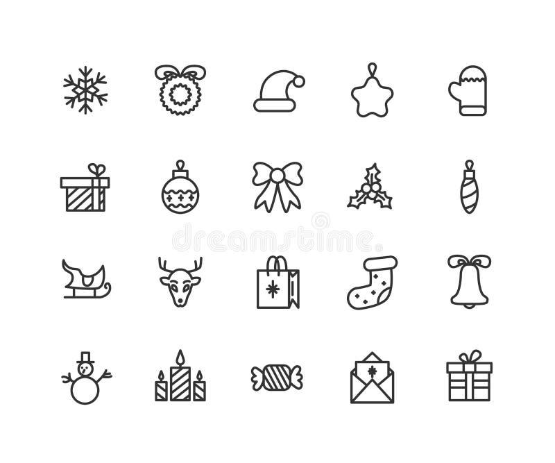 Ligne mince ensemble d'icônes de nouvelle année, de partie et de célébrations Collection de symbole d'ensemble Course Editable de illustration de vecteur
