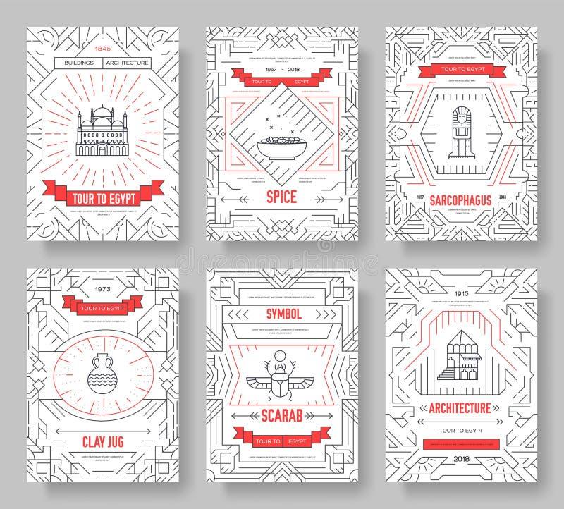 Ligne mince ensemble de carte de brochure de guidevector de vacances de voyage de l'Egypte de pays pens?e du calibre lin?aire d'i illustration de vecteur