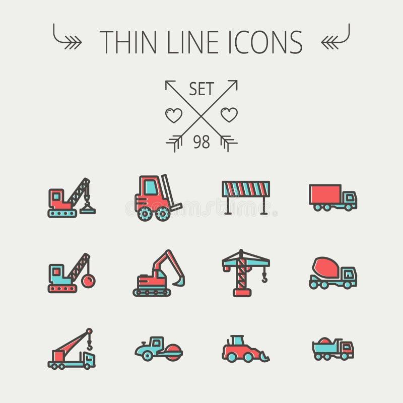 Ligne mince ensemble de construction d'icône illustration stock