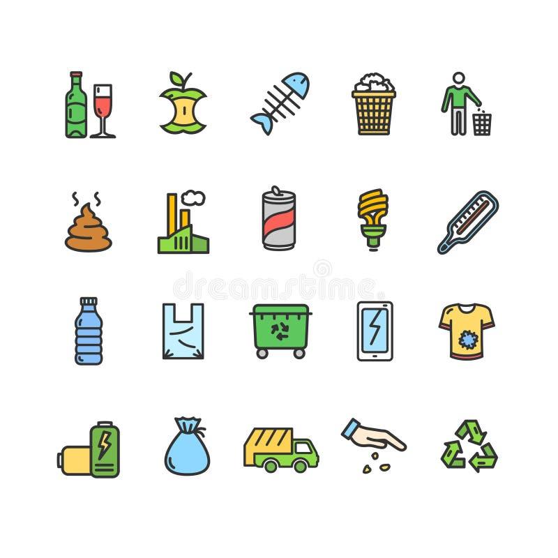 Ligne mince ensemble de couleur de signes de déchets d'icône Vecteur illustration de vecteur