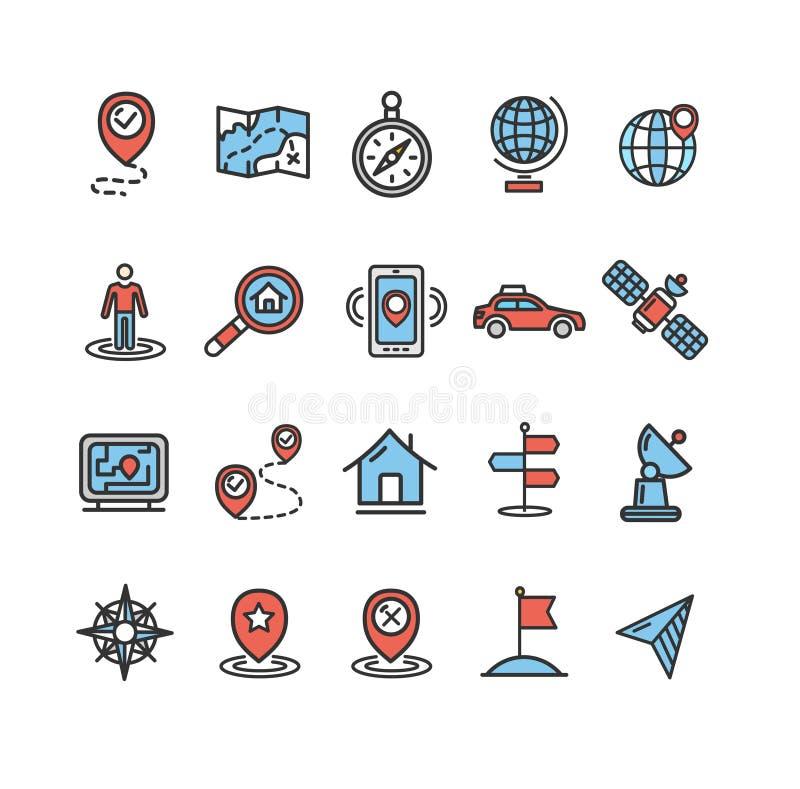 Ligne mince ensemble de couleur de signes d'emplacement et de navigation d'icône Vecteur illustration stock