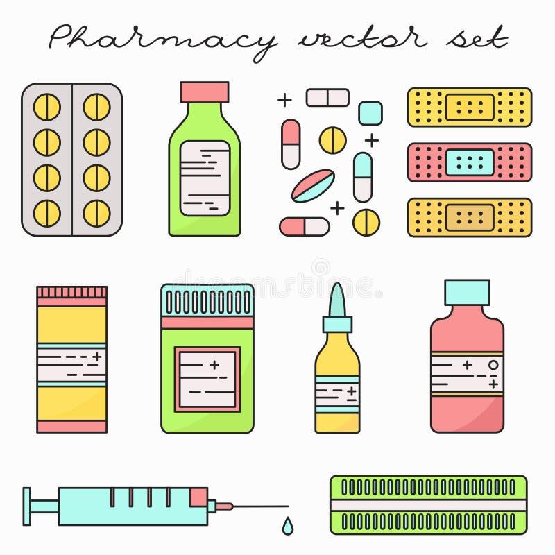 Ligne mince ensemble de médecine de drogues de pilules de vecteur illustration de vecteur