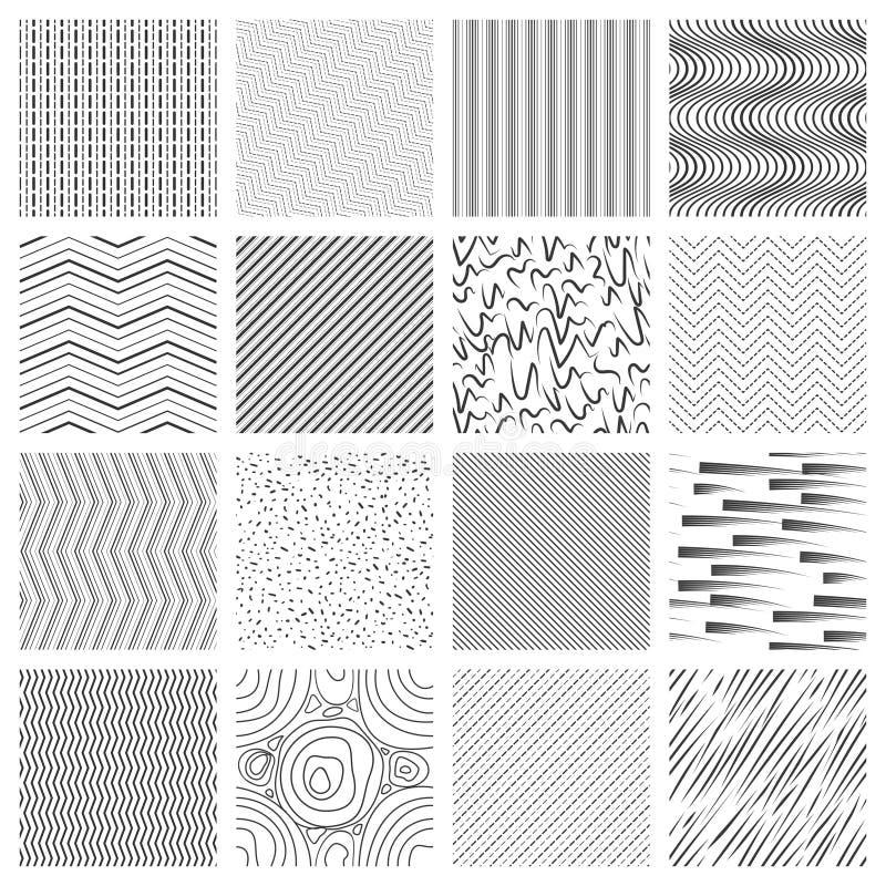 Ligne mince ensemble de modèle Croisement et lignes rayées inclinées et onduleuses modèles illustration stock