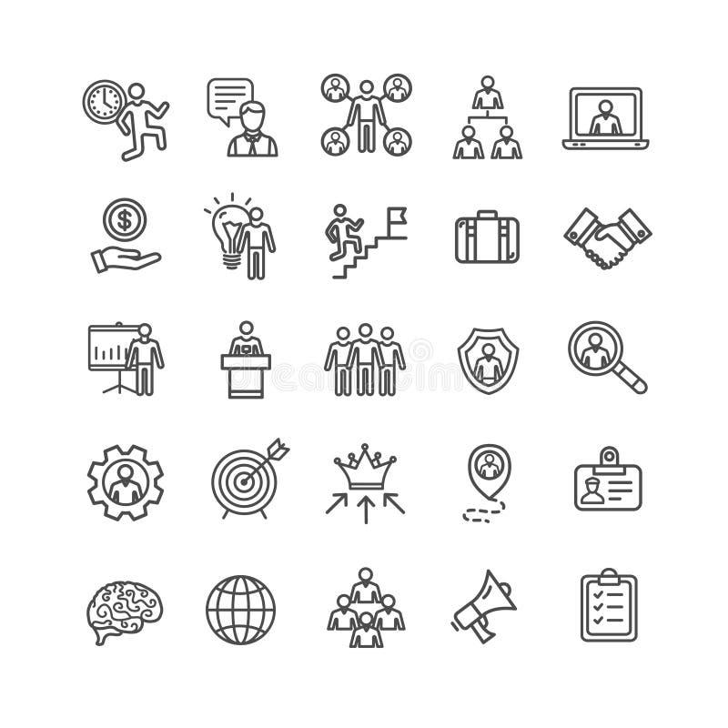 Ligne mince ensemble de noir d'affaires de gestion d'icône Vecteur illustration libre de droits