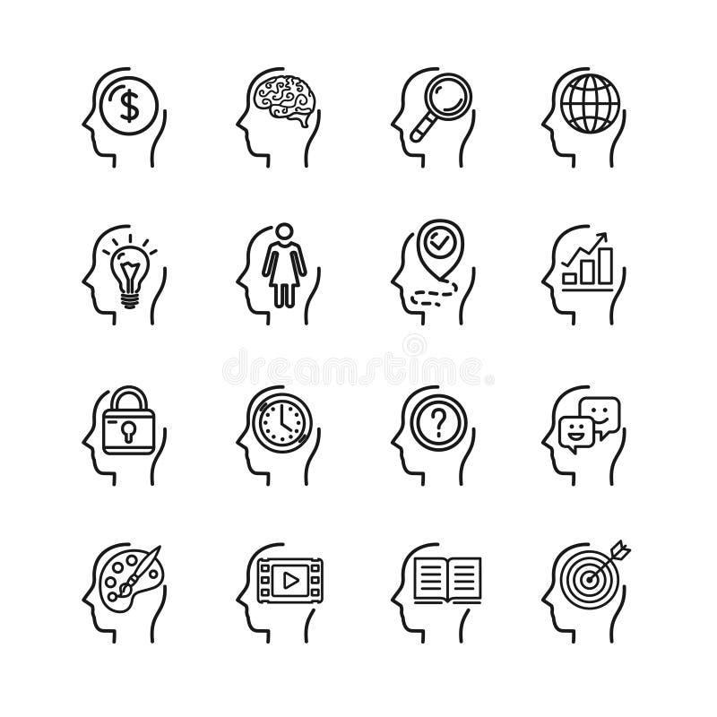 Ligne mince ensemble de noir d'esprit humain de symbole d'icône Vecteur illustration stock