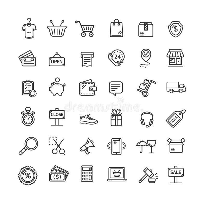 Ligne mince ensemble de noir d'icône de commerce électronique Vecteur illustration de vecteur