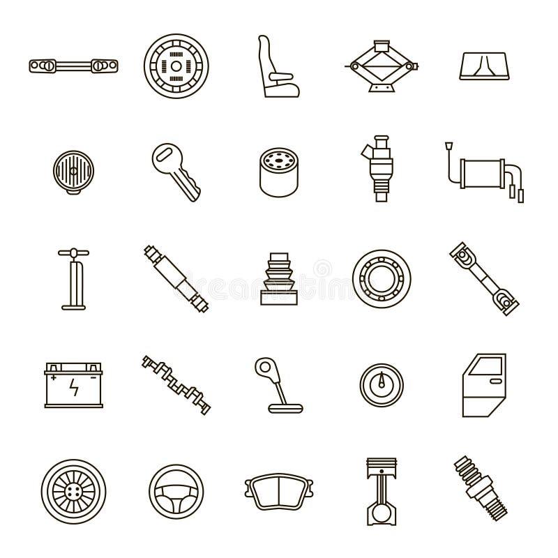 Ligne mince ensemble de noir de pièces de voiture d'icône Vecteur illustration stock