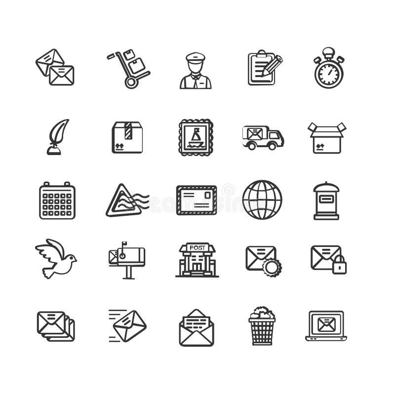 Ligne mince ensemble de noir postal de signes d'icône Vecteur illustration libre de droits