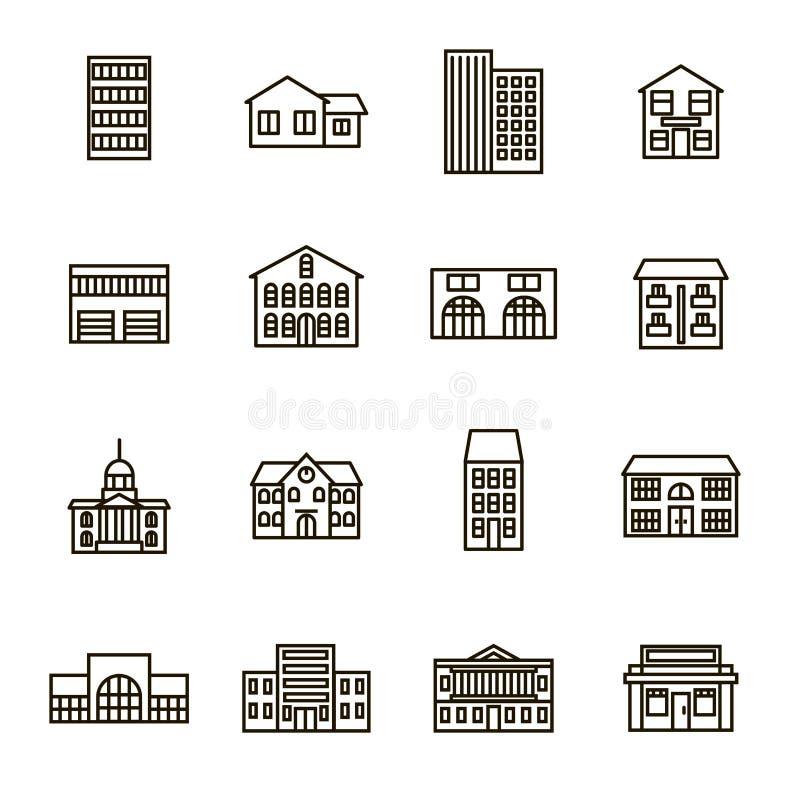 Ligne mince ensemble de noir de signes de Chambre de propriété d'icône Vecteur illustration de vecteur