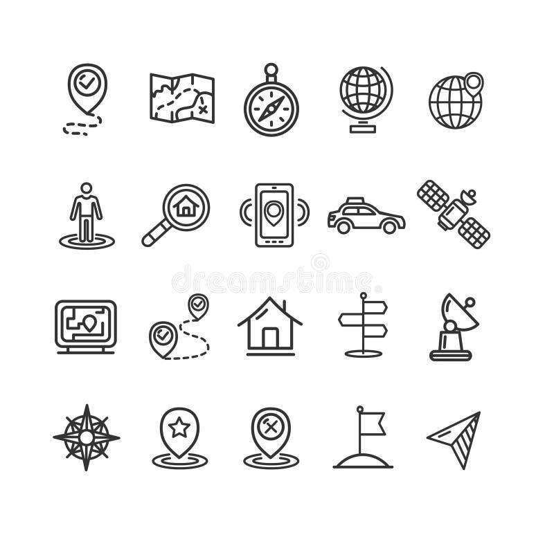 Ligne mince ensemble de noir de signes d'emplacement et de navigation d'icône illustration de vecteur