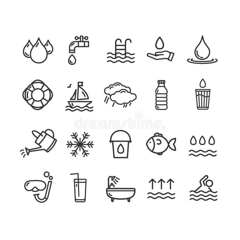 Ligne mince ensemble de noir de signes de piscine et d'eau d'icône Vecteur illustration de vecteur