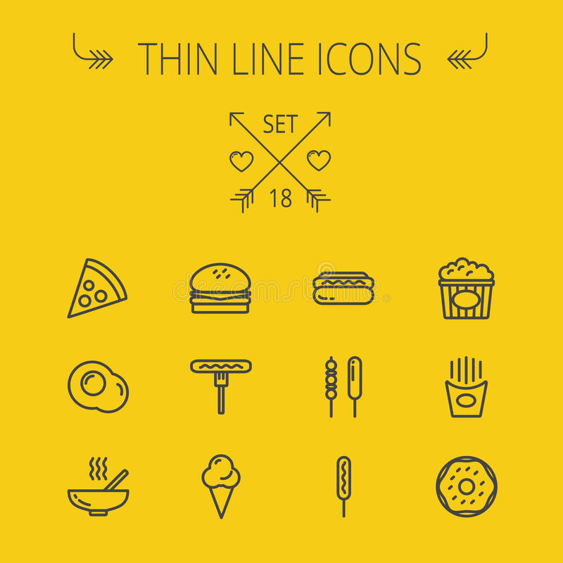 Ligne mince ensemble de nourriture d'icône illustration stock