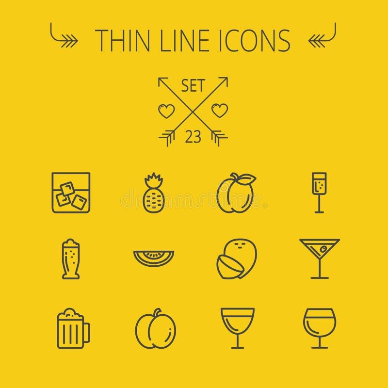 Ligne mince ensemble de nourriture d'icône illustration libre de droits