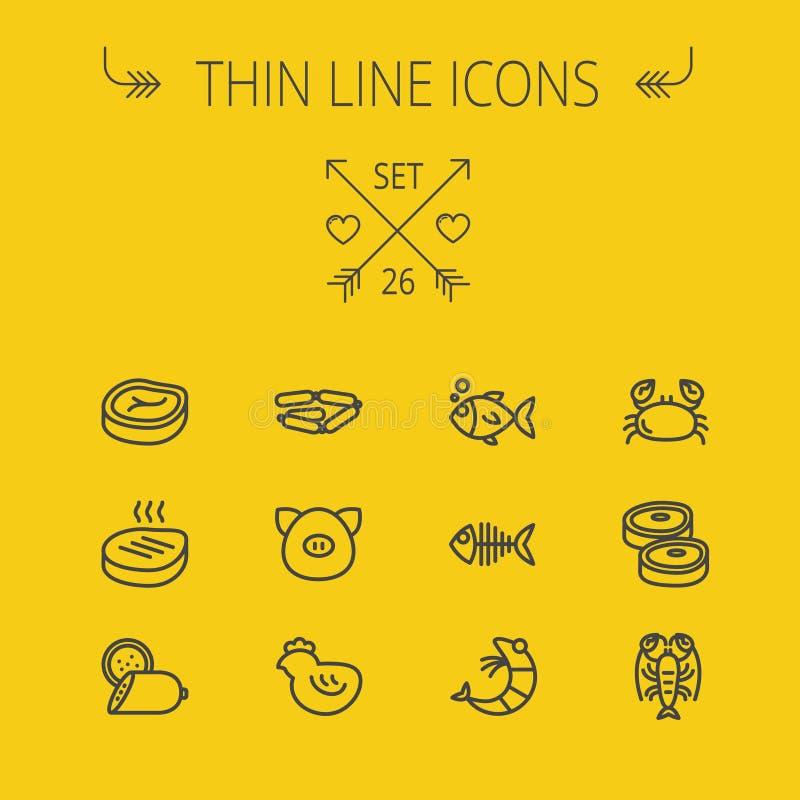 Ligne mince ensemble de nourriture d'icône illustration de vecteur